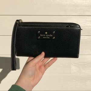 Kate Spade Black Leather Wristlet